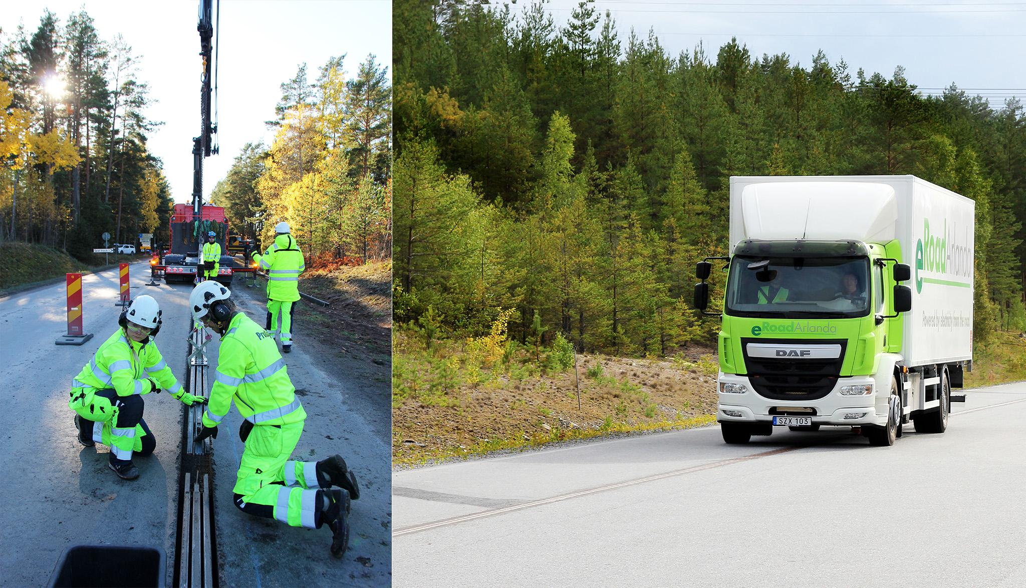 Left: workers installing a rail in a road. Right: An electric lorry driving on the rail.
