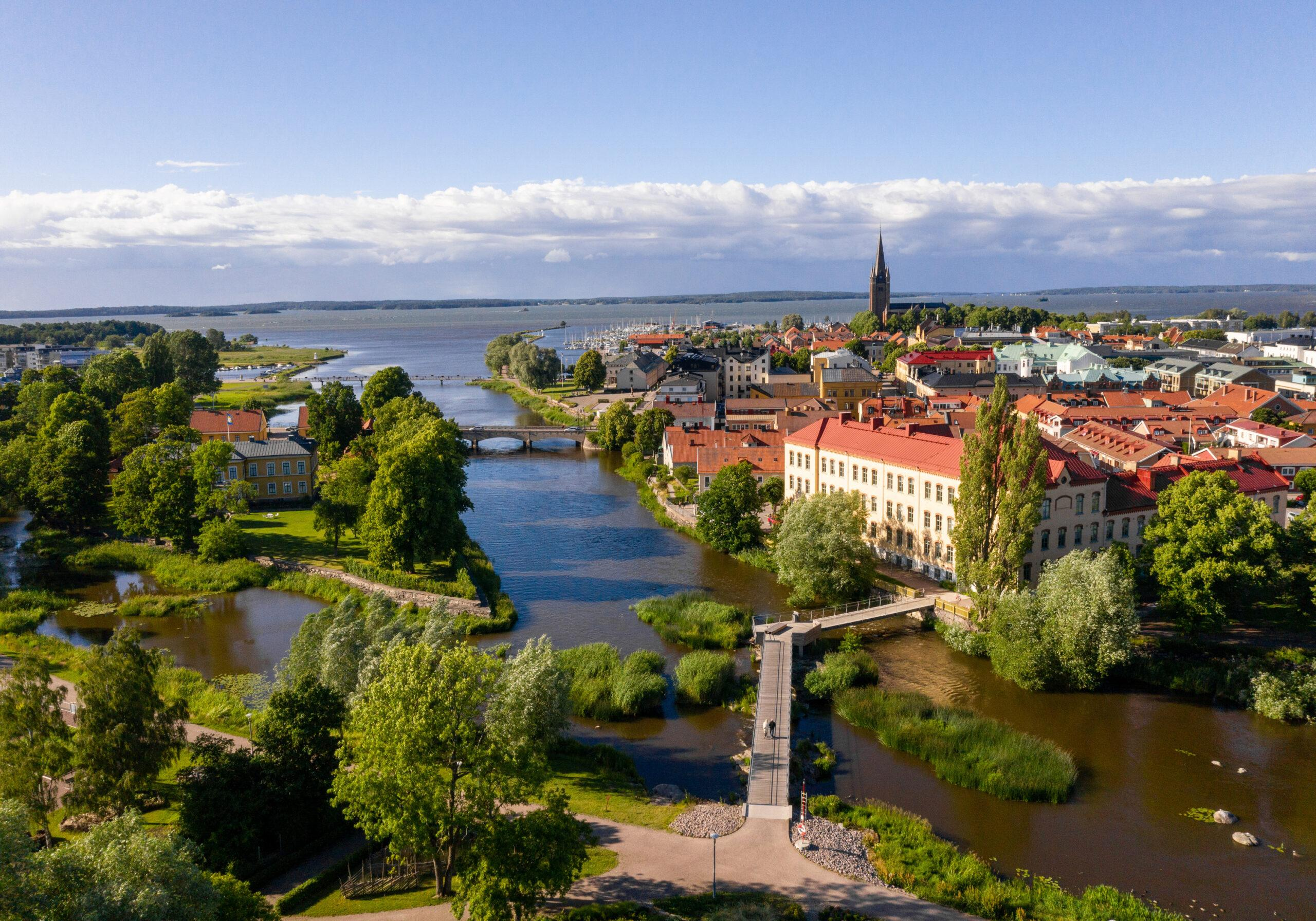 Aerial view of the town of Mariestad.