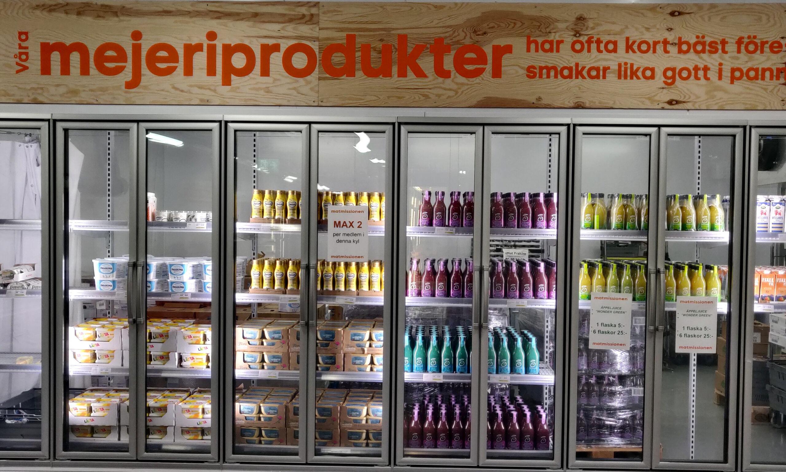 A dairy fridge in the Matmissionen supermarket.