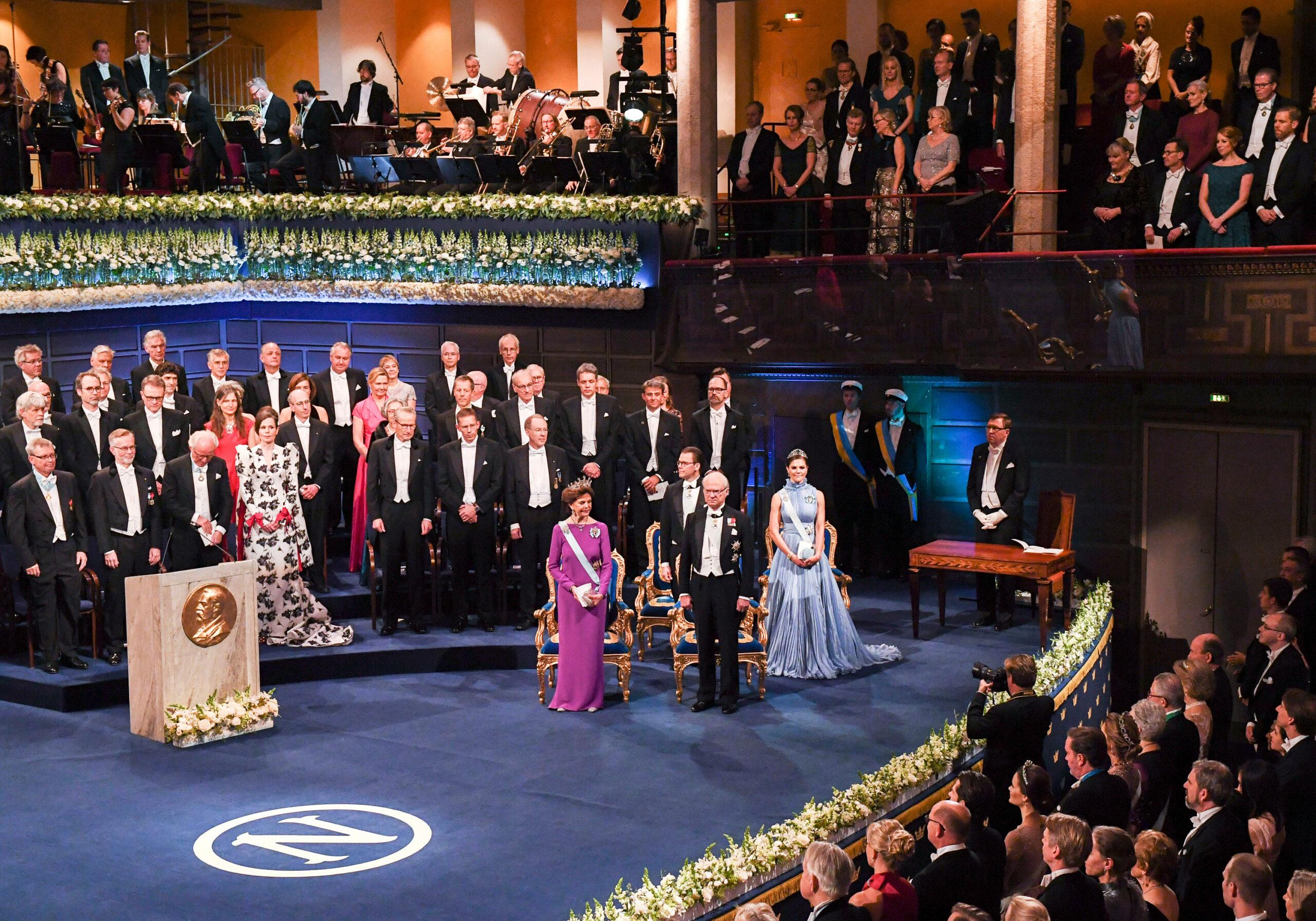The Nobel Prize award ceremoni in Stockholm Concert Hall, with Queen Silvia, Prince Daniel, King Carl XVI Gustaf and Crown Princess Victoria seen to the right.