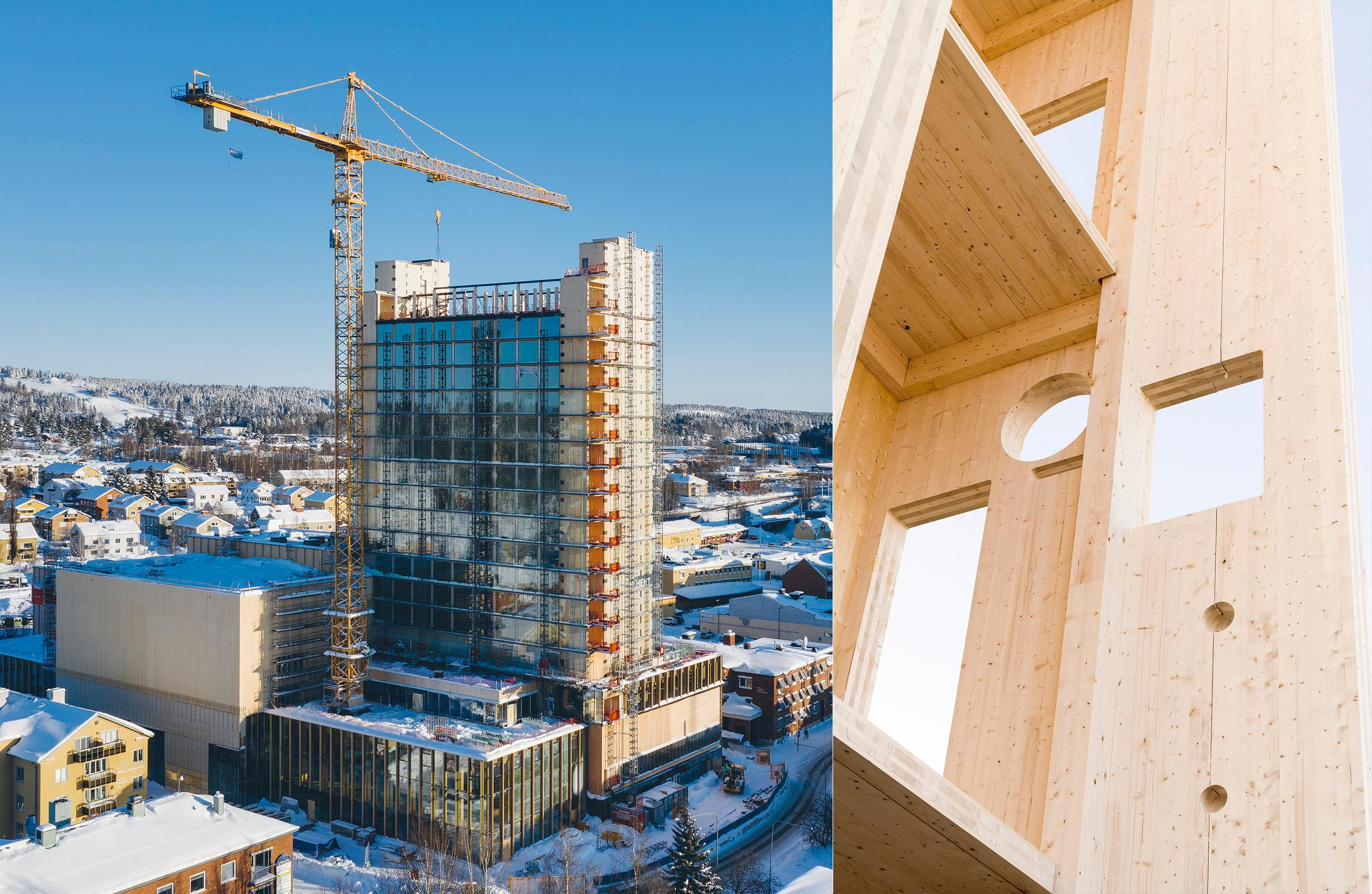 Sara Cultural Centre under construction. One photo with a towering building and a crane, one close-up of wooden walls.