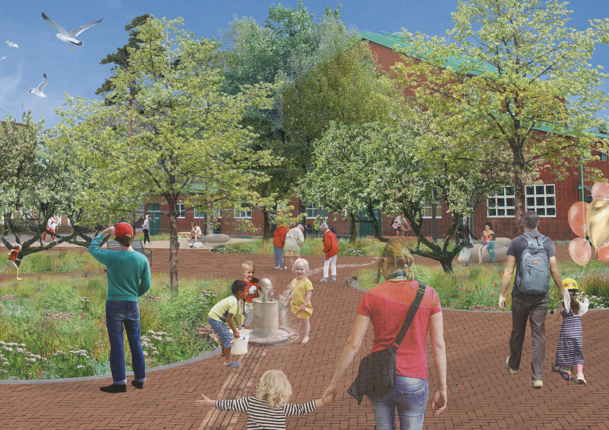 Illustration showing the vision for Sege Park: lots of green, people walking and children playing.